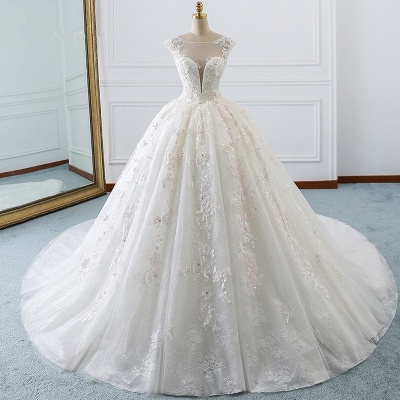 Ball Gown Lace Sleeveless Tulle Wedding Dresses_5