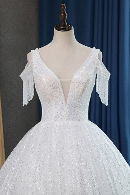 White Tulle Ball Gown Cold-Shoulder V-Neck Bridal Gowns Sequins_3