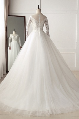 A-Line Long Sleeves Tulle Lace White Wedding Dresses_2