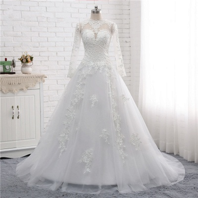 White Long Sleeves Tulle Lace Wedding Dresses_8