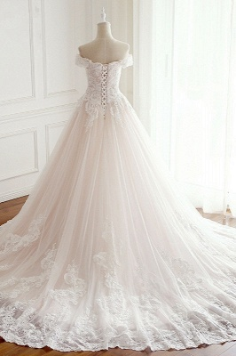 Off-the-Shoulder Appliques Sleeveless Tulle Lace Wedding Dresses_2