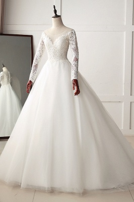 A-Line Long Sleeves Tulle Lace White Wedding Dresses_3