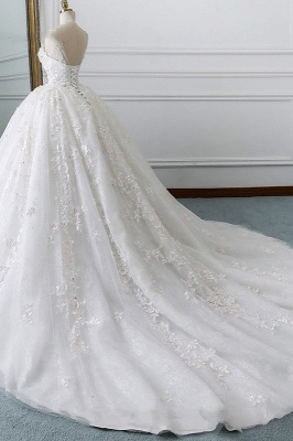 Ball Gown Lace Sleeveless Tulle Wedding Dresses_2