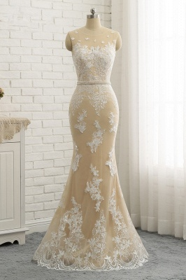 Jewel Tulle Sleeveless Overskirt Champagne Wedding Dresses_5