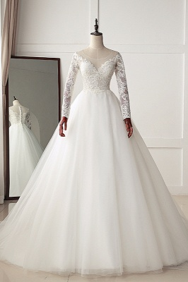 A-Line Long Sleeves Tulle Lace White Wedding Dresses_1