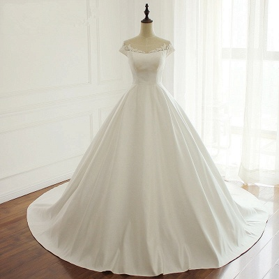 Simple A-Line Satin Jewel Ruffle Tulle Lace Wedding Dresses_6