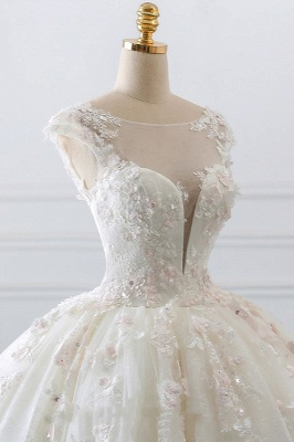 Ball Gown Lace Sleeveless Tulle Wedding Dresses_4