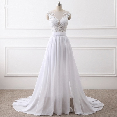 A-Line Sleeveless lace Bridal Gowns with Slit_6