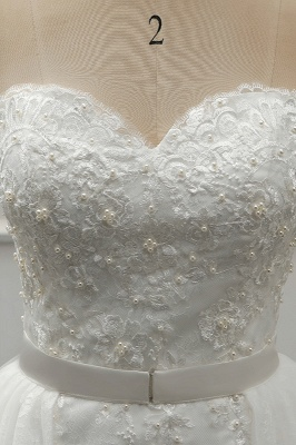 A-Line Strapless Sweetheart Tulle Bridal Gowns On Sale_6