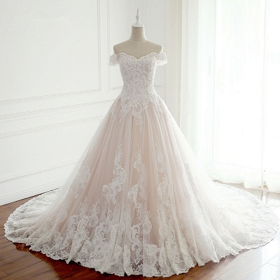Off-the-Shoulder Appliques Sleeveless Tulle Lace Wedding Dresses_5
