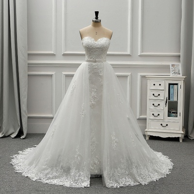 A-Line Strapless Sweetheart Tulle Bridal Gowns On Sale_7