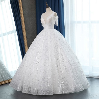 White Tulle Ball Gown Cold-Shoulder V-Neck Bridal Gowns Sequins_5