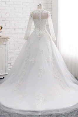 White Long Sleeves Tulle Lace Wedding Dresses_2