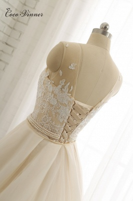 Jewel Tulle Sleeveless Overskirt Champagne Wedding Dresses_8