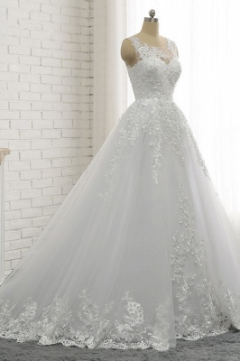 A-Line Sleeveless Appliques Tulle Lace Wedding Dresses_3