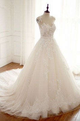 A-Line Tulle Ivory Appliques Sleeveless Bridal Gowns_3