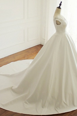 Simple A-Line Satin Jewel Ruffle Tulle Lace Wedding Dresses_3