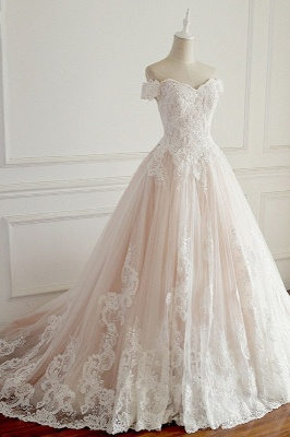 Off-the-Shoulder Appliques Sleeveless Tulle Lace Wedding Dresses_3