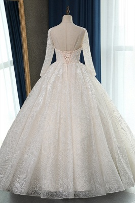 Long Sleeves Jewel Appliques Ball Gown Wedding Dresses_2