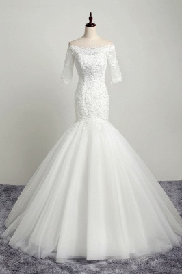 Off-the-Shoulder Mermaid Half Sleeves Tulle Lace Wedding Dresses_1