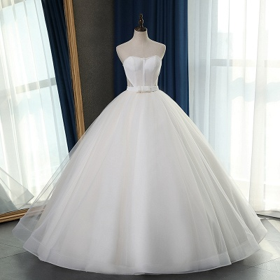 Sleeveless White Tulle Strapless Sweetheart Bridal Gowns On Sale_6