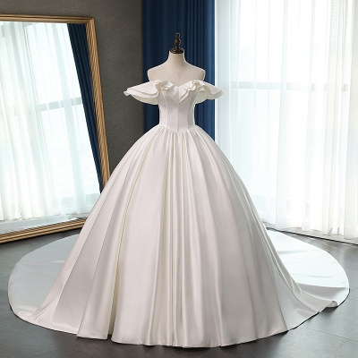 Ruffles Sleeveless Strapless Sweetheart Bridal Gowns On Sale_6