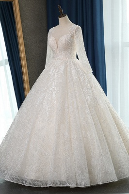 Long Sleeves Jewel Appliques Ball Gown Wedding Dresses_3