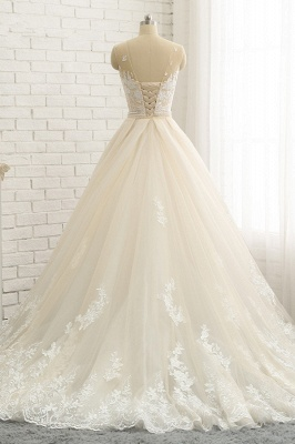 Jewel Tulle Sleeveless Overskirt Champagne Wedding Dresses_2