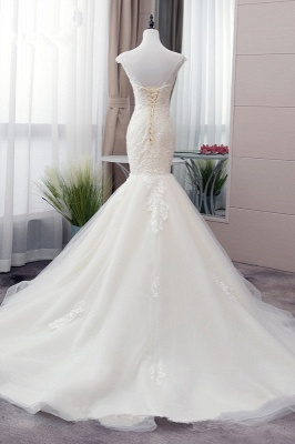 Tulle Mermaid Lace Sleeveless Iovry Wedding Dresses_2