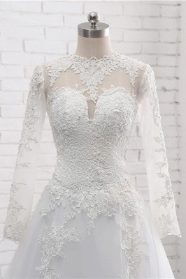 White Long Sleeves Tulle Lace Wedding Dresses_5