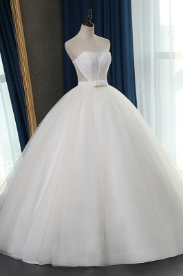 Sleeveless White Tulle Strapless Sweetheart Bridal Gowns On Sale_3