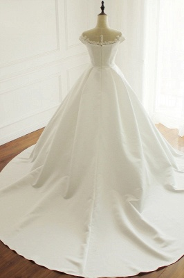 Simple A-Line Satin Jewel Ruffle Tulle Lace Wedding Dresses_2