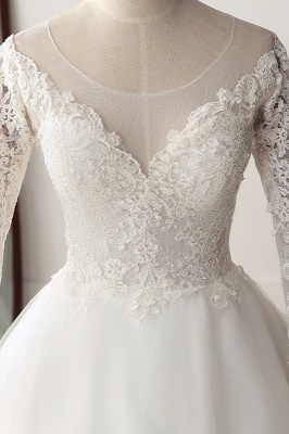 A-Line Long Sleeves Tulle Lace White Wedding Dresses_4