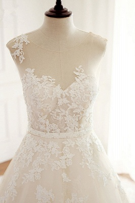 A-Line Tulle Ivory Appliques Sleeveless Bridal Gowns_4