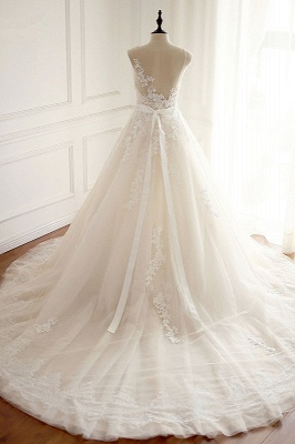 A-Line Tulle Ivory Appliques Sleeveless Bridal Gowns_2