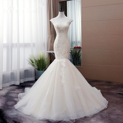 Tulle Mermaid Lace Sleeveless Iovry Wedding Dresses_6