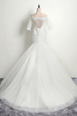 Off-the-Shoulder Mermaid Half Sleeves Tulle Lace Wedding Dresses_2