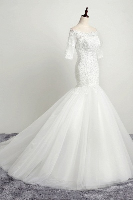 Off-the-Shoulder Mermaid Half Sleeves Tulle Lace Wedding Dresses_3