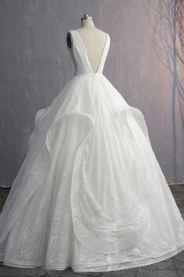 V-Neck Ruffles Lace Appliques Sleeveless Bridal Gowns_5