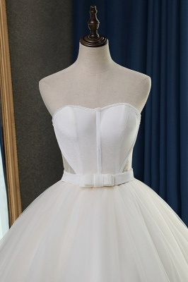 Sleeveless White Tulle Strapless Sweetheart Bridal Gowns On Sale_5