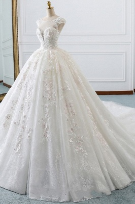 Ball Gown Lace Sleeveless Tulle Wedding Dresses_3