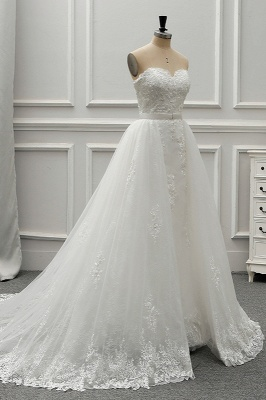 A-Line Strapless Sweetheart Tulle Bridal Gowns On Sale_3