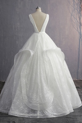 V-Neck Ruffles Lace Appliques Sleeveless Bridal Gowns_2