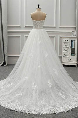 A-Line Strapless Sweetheart Tulle Bridal Gowns On Sale_2