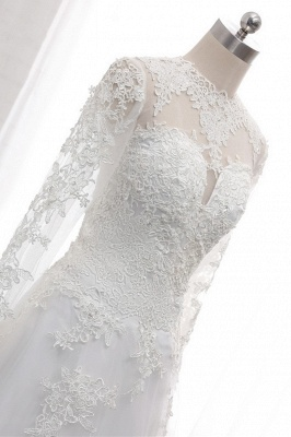 White Long Sleeves Tulle Lace Wedding Dresses_6