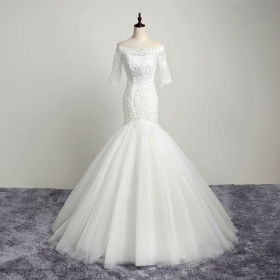 Off-the-Shoulder Mermaid Half Sleeves Tulle Lace Wedding Dresses_5