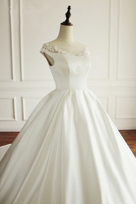 Simple A-Line Satin Jewel Ruffle Tulle Lace Wedding Dresses_5