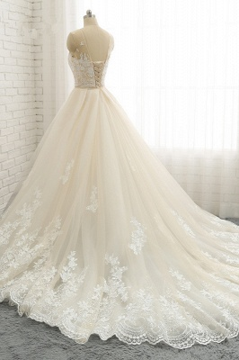 Jewel Tulle Sleeveless Overskirt Champagne Wedding Dresses_4