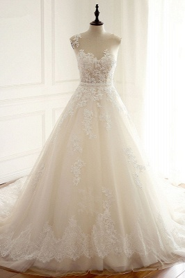 A-Line Tulle Ivory Appliques Sleeveless Bridal Gowns_1