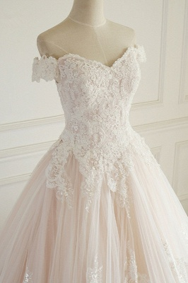 Off-the-Shoulder Appliques Sleeveless Tulle Lace Wedding Dresses_4